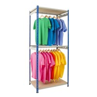 Rivet Rack Single Rail Garment Bay - 2 Levels