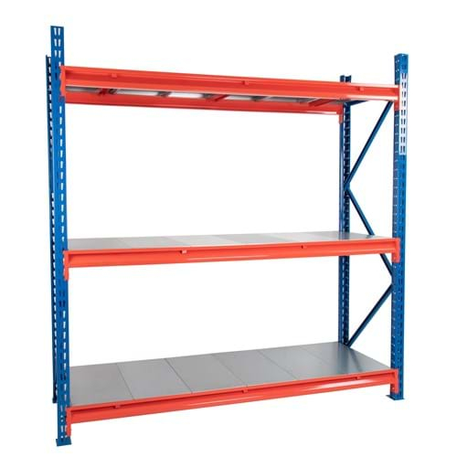 Twin Slot Longspan Racking Starter Bay with Solid Steel Decking
