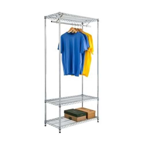 Eclipse Chrome Wire Garment Rack With Under Shelf