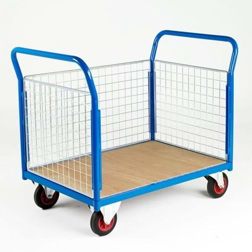 500 Series Platform Trolley - Double Mesh End & Single Side