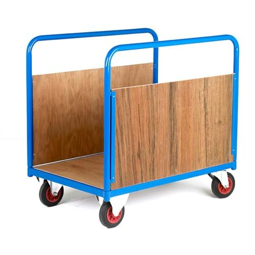 500 Series Platform Trolley - Long Goods Double Straight Timber Sides