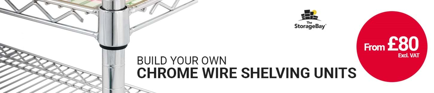 Build your own custom chrome wire shelving units at The Storage Bay
